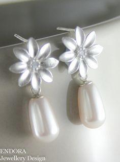 Bridal earrings | White pearl earrings | Petite pearl earrings | Swarovski teardrop pearl earrings | #EndoraJewellery