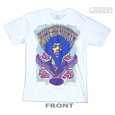 JiGGy.Com - Jimi Hendrix - Live At The Fillmore T-Shirt Jimi Hendrix t-shirt featuring a concert tour design from his New Year's Eve 1969 show, at the Filmore East in NYC. Full color, trippy artwork from a legendary Hendrix concert. Printed on a white 100% cotton t-shirt.
