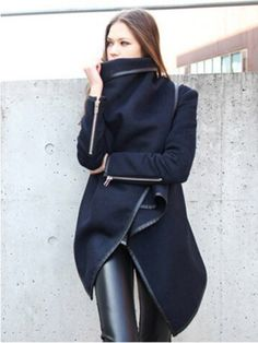 Asymmetric Layered Coat with Zippers