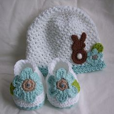 Easter Hat  Shoes  I think this is crochet, but even if it's knit, I'm sure Cindy could copy it.