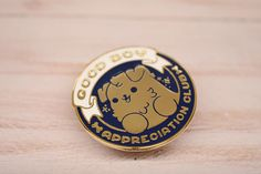 Kawaii Good Boy Appreciation Club Dog Enamel Pin by BrightBatDesign on Etsy