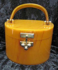 butterscotch bakelite purse, 1930s