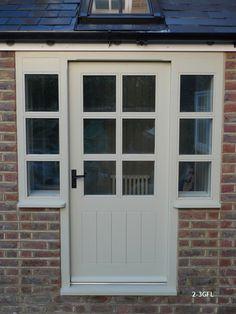 glazed framed ledged door and sidelight Cottage Style Doors, Cottage Front Doors, Front Door Porch, Cottage Porch, Porch Doors, Door Entryway, House Doors, Back Doors, House Front