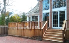 This wood deck was custom designed and built by Western Springs, IL deck designer, Archadeck of Chicagoland.