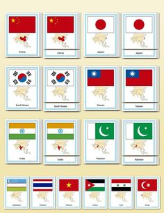 Flags of Asia Cambodia Map, South Korea North Korea, All About Me Book, Asia Continent, Africa Flag, Family Day Care, Countries And Flags, 5th Grade Social Studies, 1st Grade Worksheets
