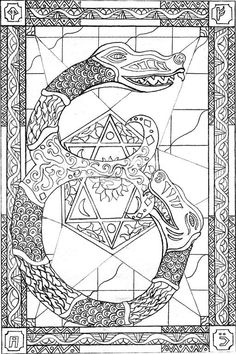 Once upon a time a young artist in college was inspired by the letter A on her art history final.  She decided to make her own Manuscript Illumination Alphabet and numbers, it took 2 1/2 years to complete.  This is one of the better sketches.  (At one point these were copied and colored- but those copies are long lost.  It is tempting to color them again.)