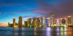 size: Photographic Print: Usa, Florida, Miami Skyline at Dusk by John Kellerman : Miami Skyline, New York Skyline, Digital Technology, Absolutely Stunning, Professional Photographer, Dusk, Find Art, Framed Artwork, Florida