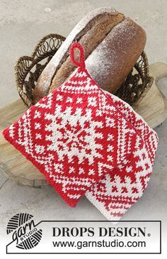 Baking Season - Knitted pot holders for Christmas with color pattern in DROPS Paris. - Free pattern by DROPS Design Potholder Patterns, Knitting Patterns Free, Free Knitting, Free Pattern, Crochet Patterns, Drops Design, Knitting Projects, Crochet Projects, Drops Paris