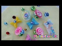 Como hacer moño y rosa de acrílico - YouTube