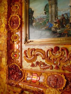 The Amber Room, Russia - http://en.wikipedia.org/wiki/Amber_Room