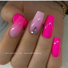 Cutest Nail Art Designs for Your Beautiful Finger Long Nails Style Pink Nail Art, Summer Acrylic Nails, Best Acrylic Nails, Hot Pink Nails, Summer Nails, Pink Tip Nails, Summer Nail Polish, Pink Ombre Nails, Dope Nails