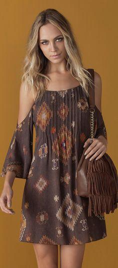 V Neckline Open Shoulder Calico Print Top Women's Summer Fashion, Boho Fashion, Fashion Outfits, Womens Fashion, Bohemian Style, Boho Chic, Cute Dresses, Short Dresses, Summer Outfits