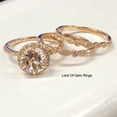 Trio Wedding Ensemble Vintage Style Morganite & Diamond Engagement Ring & Bands in 14K Rose Gold  $868.00 $2,800.00