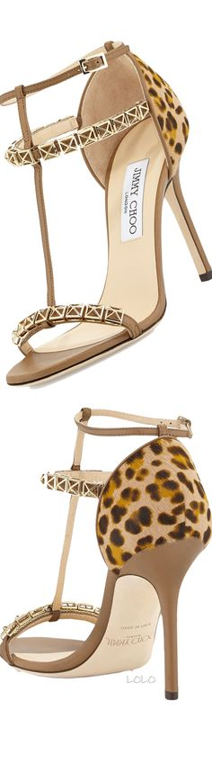 Jimmy Choo Animal Flint Tstrap Calf Hair Sandal Antelope #JimmyChoo #Shoes #Heels