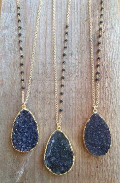 Black Druzy Necklace with Black Spinel Accents  by joydravecky