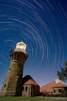 Star Trails - Barrenjoey Lighthouse by Night Star Trails - Barrenjoey Lighthouse by Night Barrenjoey Head, Sydney's Northern Beaches, NSW, Australia 22 x exposures over nearly period Star Trails, Beacon Of Light, Stars At Night, Old Farm, Day Hike, Covered Bridges, Cool House Designs, Asia Travel, East Coast