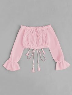 Shop Off Shoulder Drawstring Split Front Blouse online. SheIn offers Off Shoulder Drawstring Split Front Blouse & more to fit your fashionable needs. Girls Fashion Clothes, Teen Fashion Outfits, Outfits For Teens, Girl Fashion, Summer Outfits, Fashion 2016, Ladies Fashion, Cute Girl Outfits, Cute Casual Outfits