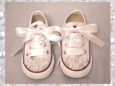 Childrens Pearl Converse / kids converse / white by CindersWish