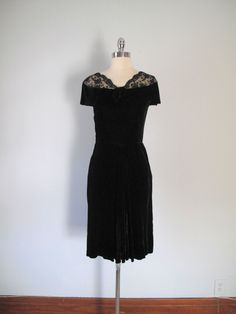 1940s Evening Dress  Black Velvet and Lace by maevintageinc, $49.00