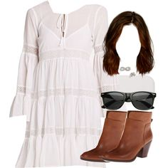 A fashion look from June 2015 featuring BCBGMAXAZRIA dresses, Nine West ankle booties and Adina Reyter earrings. Browse and shop related looks.