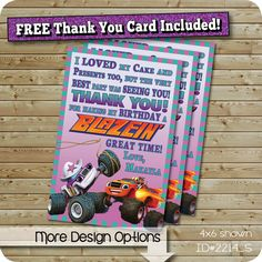 Blaze Thank You Card, Starla Thank You Card, Blaze and The Monster Machines, Digital Design Emailed (You Print)
