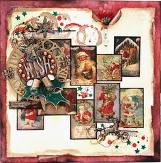 Vintage Christmas Paper Patchwork. Makes me want to dig through the attic & make a New Album from the boxes of Cards I've stashed through the years.
