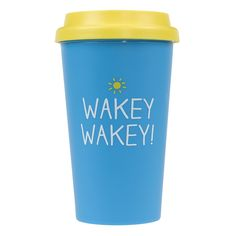 This bright blue Wakey Wakey Travel Cup comes with a silicone lid to keep your hot drinks warm on the go! capacity Double-walled Plastic Hand wash Not microwave or dishwasher safe Happy Jackson for Wild & Wolf Cool Gifts, Unique Gifts, Thermal Flask, Take Away Cup, Handmade Lampshades, Travel Cup, Fun Travel, Wild Wolf, Personalized Gifts
