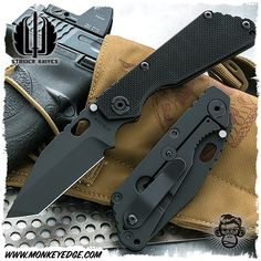 Strider Knives Folder: SNG Standard 3/4 Grind Tanto Cerakote Black
