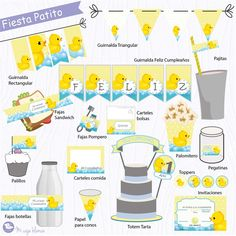 Imprimible cumpleaños patito Map, Printables, Bottles, Invitations, Party, Location Map, Maps