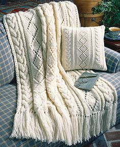 Cables & Diamonds Knit Afghan & Pillow Pattern Designed by Mary Jane Cable Knit Blankets, Cozy Blankets, Blanket Yarn, Knitted Afghans, Knitted Throws, Knitting Needles, Knitting Yarn, Free Knitting, Knit Pillow
