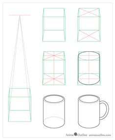 A tutorial on the basics of drawing in one point, two point, and three point perspective and how it relates to anime and manga. How To Do Drawing, Drawing Cup, Object Drawing, Basic Drawing, Technical Drawing, 1 Point Perspective Drawing, Perspective Art, Geometric Shapes Drawing, Drawing Tutorials For Beginners