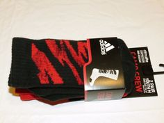Adidas Climalite compression camo crew Boy's red socks M 13c-4Y Dominate 2 pair #Adidas #socks