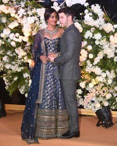 Priyanka Chopra in a blue gold Sabyasachi banarasi lehenga gown for her Mumbai reception party. Wedding Dress, Indian Wedding Outfits, Saree Wedding, Indian Outfits, Bridal Dresses, Wedding Reception, Post Wedding, Indian Clothes, Indian Weddings