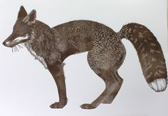 Large linocut print of a Fox. Printed on heavy heritage paper in oil based relief inks. The colour is a hand mixed dark brown/grey. As each print Linocut Prints, Art Prints, Fox Painting, Fox Illustration, Collagraph, Fox Art, Woodblock Print, Printmaking, Illustrators