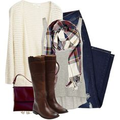 Long cream cardigan, plaid scarf & boots by steffiestaffie on Polyvore featuring Enza Costa, Frye and Forever 21