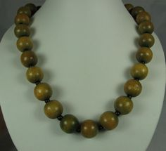 Vintage Brown Green Wood Bead Necklace by TheFashionDen on Etsy, $18.00