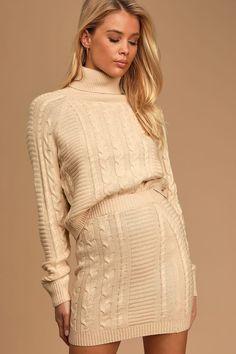 Chic Beige Dress - Knit Sweater Dress - Two-Piece Mini Dress - Lulus