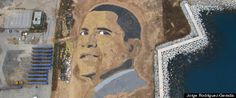 Over 20 years ago, Jorge Rodríguez-Gerada was starting of a revolution which did just that: subvert advertising to make anti capitalist statements using art. It became known as 'culture jamming', and it led to the start of a global street art movement. For this work Expectation, Rodríguez-Gerada created a portrait of Barack Obama from 650 metric tons of sand and gravel.