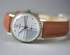 Grey face men's watch Pobeda rare design Soviet wrist by SovietEra, $71.00