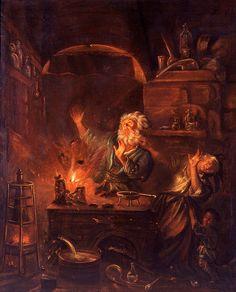 Explosión en un laboratorio de alquimista. Pintura de Justus van Bentum (1670-1727)
