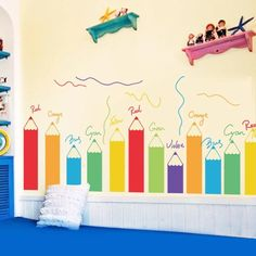 Wall Decals For Toddler Kids - Murales Pared Exterior Kindergarten Interior, Kindergarten Design, Daycare Rooms, Home Daycare, Classroom Walls, Classroom Decor, Baby Playroom, Playroom Mural, Preschool Decor