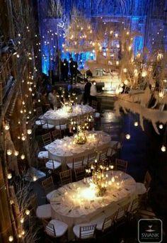 Blue LIghting in a Winter White Fairyland