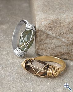 Nashelle rings with faceted wire wrapped stones... Love the gold one!!!