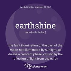 Earthshine definition, the faint illumination of the part of the moon not illuminated by sunlight, as during a crescent phase, caused by the reflection of light from the earth. Unusual Words, Rare Words, Unique Words, New Words, Beautiful Words, Cool Words, Foreign Words, English Vocabulary Words, English Words