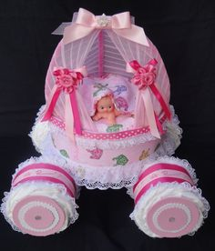 Princess Coach Carriage Diaper Cake www.facebook.com/DiaperCakesbyDiana