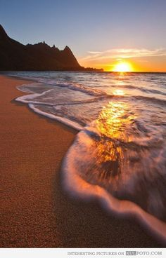 Hawaii Island - Hawaii Island - Sunset from Tunnels Beach in Kauai.