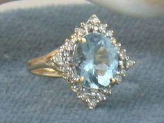 Estate 14K Aqua and Diamond Ring @rubylanecom