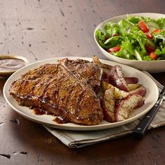 Double the flavor in a T-bone steak by sprinkling with Montreal Steak Seasoning and brushing with Montreal Steak Sauce. Serve with seasoned grilled potatoes.