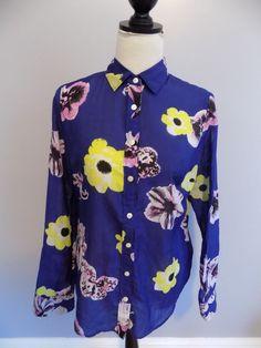 J.Crew Women's The Perfect Shirt Navy Blue Sheer Floral Button Down Shirt Medium #JCrew #ButtonDownShirt