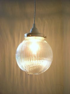 Moon GLOW - Hanging Pendant Lighting Fixture - Upcycled Haning Lamp - Holophane Ribbed Textured Glass Globe - BootsNGus Lamps